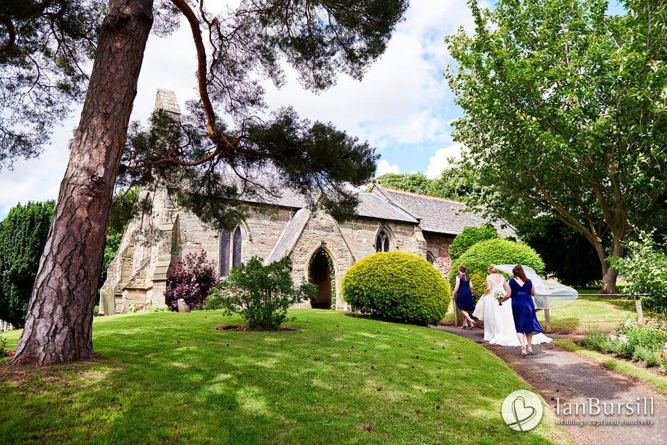 Sutton-Bonington-Hall-Bride-Nearing-The-Church