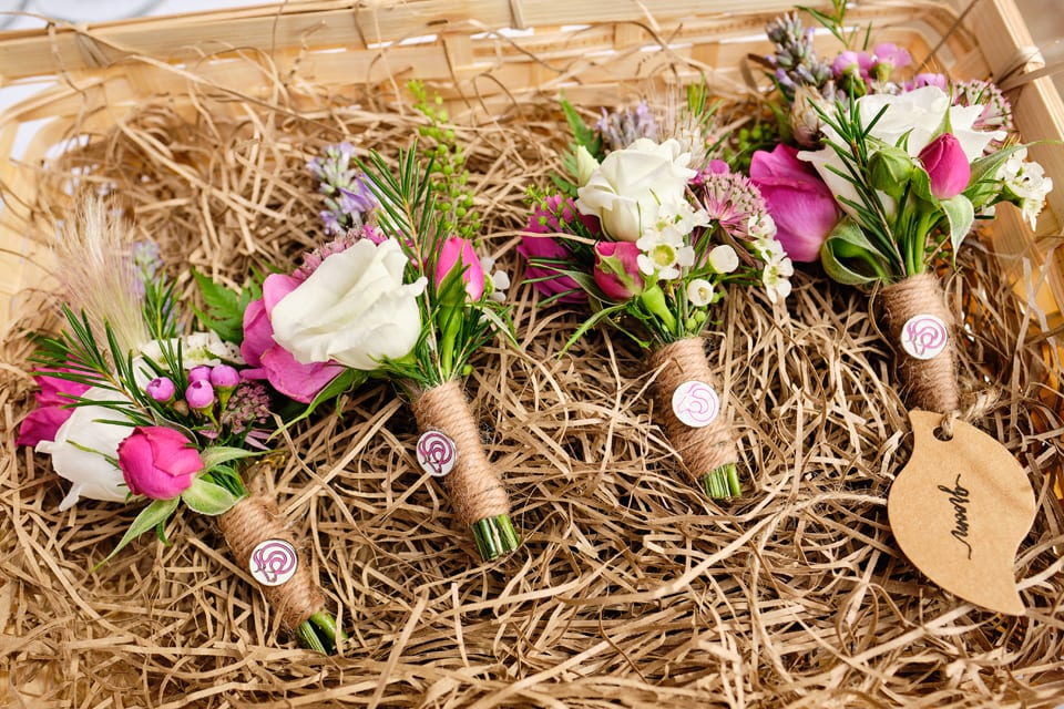 The boys' Boutonnièrres at George & Tonia's Swancar Farm, Nottinghamshire Wedding. Flowers by Sassy Blooms, Leicestershire.