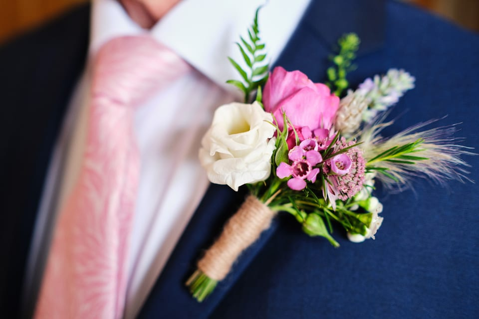 The Father of the Bride's Boutonnière at George & Tonia's Swancar Farm, Nottinghamshire Wedding. Flowers by Sassy Blooms, Leicestershire.