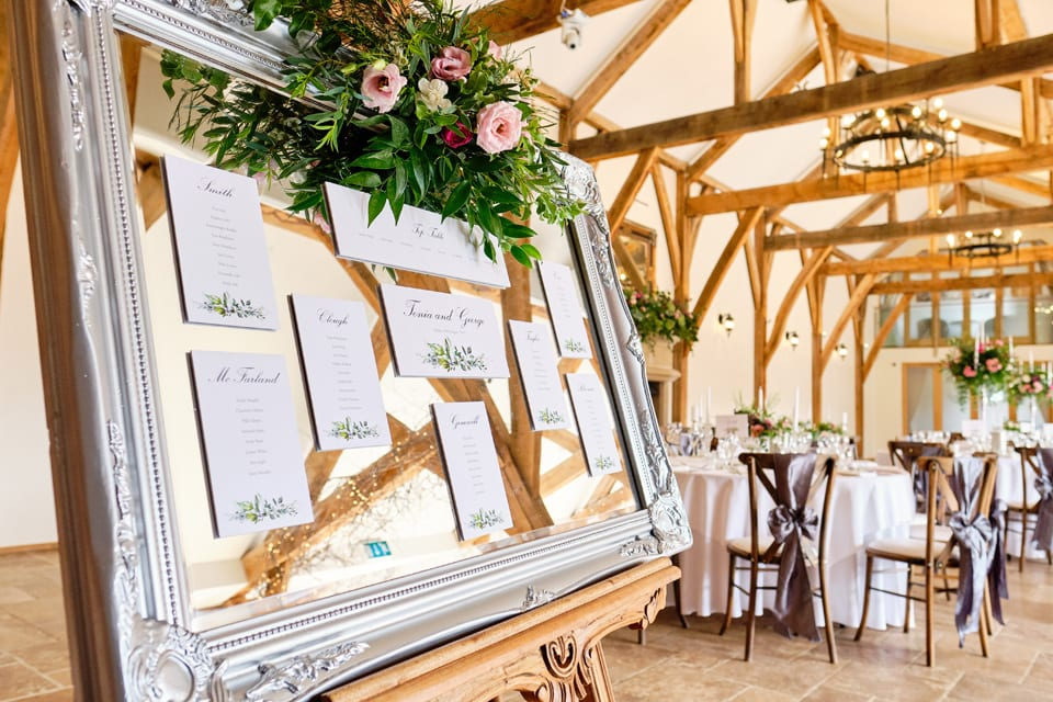 The Table Plan at George & Tonia's Swancar Farm, Nottinghamshire Wedding. Flowers by Sassy Blooms, Leicestershire.
