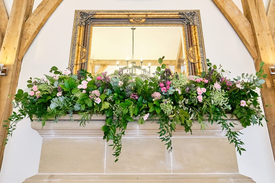 The main display at George & Tonia's Swancar Farm, Nottinghamshire Wedding. Flowers by Sassy Blooms, Leicestershire.