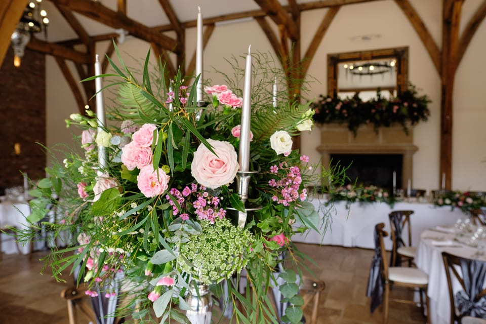 The Floral Centrepieces at George & Tonia's Swancar Farm, Nottinghamshire Wedding. Flowers by Sassy Blooms, Leicestershire.
