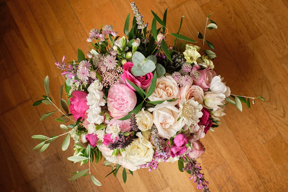 The bride's bouquet at George & Tonia's Swancar Farm, Nottinghamshire Wedding. Flowers by Sassy Blooms, Leicestershire.
